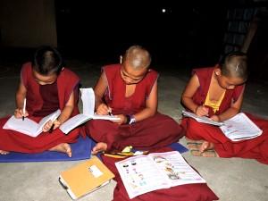 Monks preparing for Exam